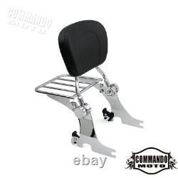 Detachable Backrest Sissy bar Luggage Rack For Harley Sportster XL883 1200 04-21