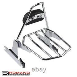 Detachable Backrest Sissybar Luggage Rack For Harley Softail Deluxe FLSTN 06-17