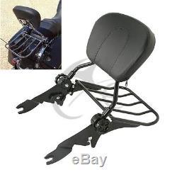 Detachable Black Backrest Sissy Bar +Rack For Harley Touring Road Glide FL 09-18