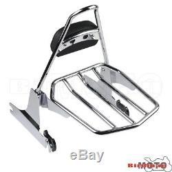 Detachable Luggage Rack Backrest Sissy Bar Pad For Harley Softail FatBoy 2005-UP
