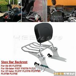 Detachable Luggage Rack Sissy Bar Backrest For Harley Fatboy 07-17 FLSTF FLSTFB