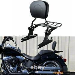 Detachable Passenger Back Rest & Sissy Bar Luggage Rack For Harley Softail FLSTN