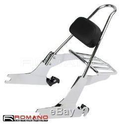 Detachable Passenger Backrest Sissy Bar Luggage Rack For Harley Dyna FXD 06-UP