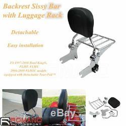 Detachable Passenger Backrest Sissy Bar Rack For Harley FLHT FLHR FLTR 1997-2008