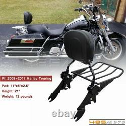 Detachable Passenger Backrest Sissy Bar WithPad For Harley Touring Road King FLHR