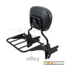 Detachable Passenger Rear Seat Backrest Pad Sissy Bar Luggage Rack For H-D FLHT