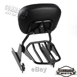 Detachable Passenger Sissy Bar Backrest+Luggage Rack For H-D Dyna Fat Bob 02-05
