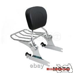 Detachable Passenger Sissy Bar Backrest Luggage Rack For Harley Softail Deluxe