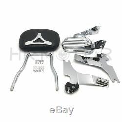 Detachable Passenger Sissy Bar Backrest with Luggage Rack Sportster XL883 04-16