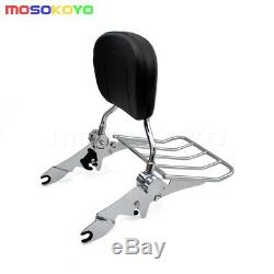 Detachable Rear Backrest Sissy Bar Luggage Rack For Harley Touring Road King 09+