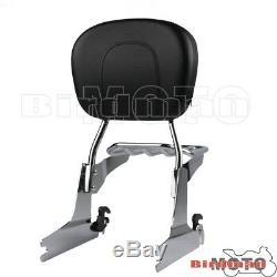 Detachable Rear Luggage Rack Backrest Sissy Bar Kit For Harley Softail 2000-UP