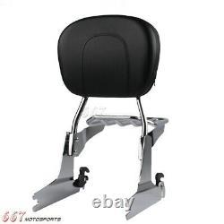 Detachable Sissy Bar Backrest Chrome Luggage Rack For Harley Heritage Softail