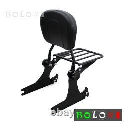 Detachable Sissy Bar Backrest Luggage Rack For Harley Dyna Low Rider FXDL 06-17