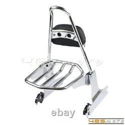 Detachable Sissy Bar Backrest Luggage Rack For Harley Dyna Super Glide FXD 02-05