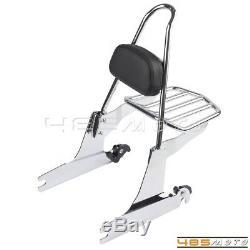 Detachable Sissy Bar Backrest Luggage Rack For Harley Softail 2000-Later Chrome