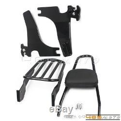 Detachable Sissy Bar Backrest Luggage Rack For Harley Sportster 1994-03 XL1200C