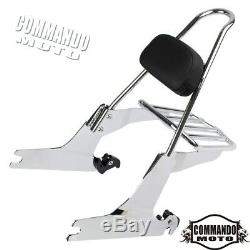 Detachable Sissy Bar Backrest+Luggage Rack Kit For Harley Dyna Low Rider 2010-UP