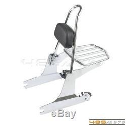 Detachable Sissy Bar Backrest Pad Luggage Rack For Harley FXDFSE Fat Bob FXDF