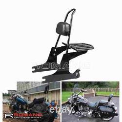 Detachable Sissy Bar Backrest Pad Luggage Rack For Harley Softail Deuce FXSTD 00