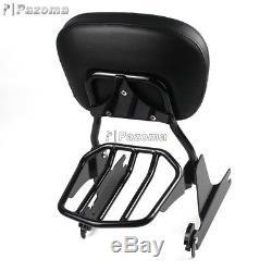 Detachable Sissy Bar Backrest Pad Luggage Rack Kit for Harley Dyna Fat Bob FXDF