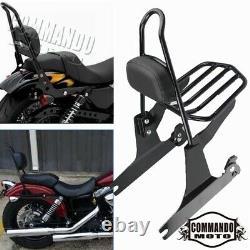Detachable Sissy Bar Backrest Pad Luggage Rack for Harley Dyna Fat Bob 2006-2019