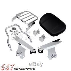 Detachable Sissy Bar Backrest Rear Luggage Rack For Harley Softail Fatboy 00-06