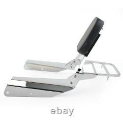 Detachable Sissy Bar Backrest with Luggage Rack Fit Honda VTX 1300C 1800C Chrome