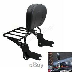 Detachable Sissy Bar Luggage Rack Backrest For Harley Touring Road King 97-08