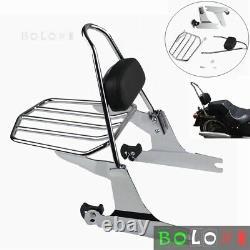 Detachable Sissy Bar Luggage Rack Backrest Pad For Harley Softail FXST 2006-2017