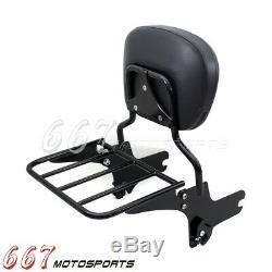 Detachable Sissy Bar Passenger Back Rest Luggage Rack For Harley FLHR FLTR FLHX
