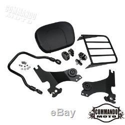 Detachable Sissy Bar Passenger Backrest Luggage Rack For Harley Iron 883 XL883N