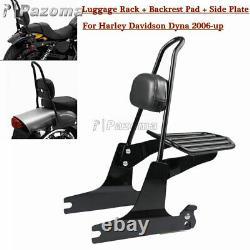 Detachable Sissy Bar Rear Passenger Backrest Pad For Harley Dyna Fat Bob FXDF
