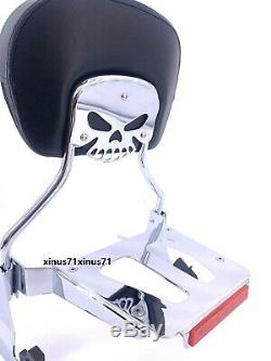 Detachable Skull Backrest Sissy Bar Tapered Luggage Rack 4 Harley Fxsb Breakout