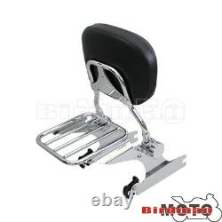 For 00-06 Detachable Sissy Bar Backrest Luggage Rack Harley Softail FatBoy FLSTF