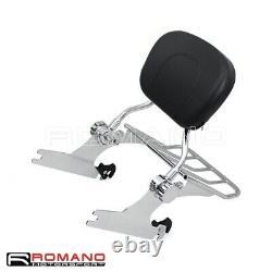 For 05-15 Detachable Sissy Bar Backrest Luggage Rack Harley Softail Deluxe FLSTN