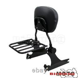 For 06-up Detachable Sissy Bar Backrest Luggage Rack Harley Dyna Street Bob FXDB