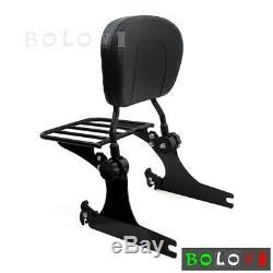 For 08-18 Harley Dyna Fat Bob Wide Glide Detachable Backrest Sissy Bar & Luggage