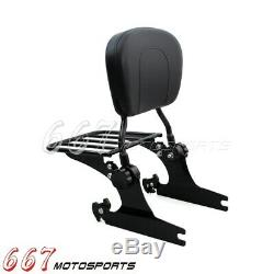 For 2000-2019 2005 Harley Softail Detachable Backrest Sissy Bar with Luggage Rack