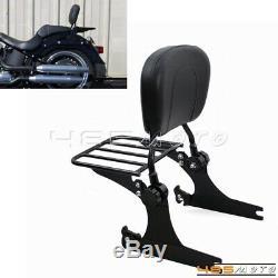 For Harley 02-05 Dyna Street Bob FXDB Detachable Sissy Bar Backrest Luggage Rack