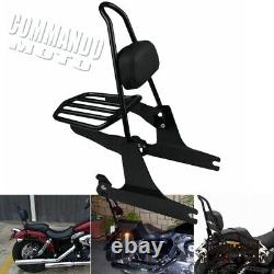 For Harley Davidson Dyna Detachable Rear Backrest Sissy Bar Luggage Rack Kit