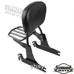 For Harley-Davidson Fat Bob FXDF Sissy Bar Backrest Pad Luggage Rack (2008-2020)