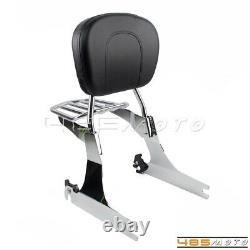 For Harley Dyna Fat Bob FXDF Detachable Backrest Sissy Bar Luggage Rack with Pad
