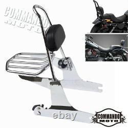 For Harley Dyna Fat Bob FXDF NEW Detachable Sissy Bar Backrest Pad Luggage Rack