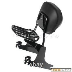 For Harley Dyna Fat Bob FXDF Sissy Bar Backrest Pad Luggage Rack 2008-2020 Black