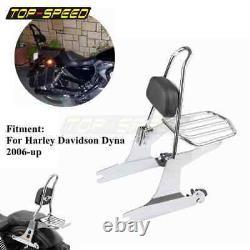 For Harley Dyna Motorcycle Luggage Rack Passenger Sissy Bar Detachable Backrest