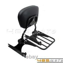 For Harley Dyna Wide Glide Fat Bob Detachable Backrest Sissy Bar Luggage Rack
