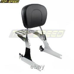 For Harley Fat Bob FXDF Wide Glide Detachable Backrest Sissy Bar & Luggage Rack