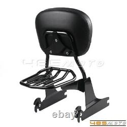 For Harley Heritage Softail FXST Rear Sissy Bar Backrest with Luggage Rack Black