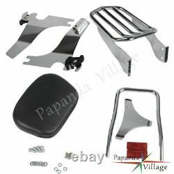 For Harley Sportster 94-13 Detachable Sissy Bar Backrest Pad Luggage Rack Chrome