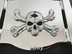 Genuine 2006-2017 Harley Dyna Detachable Backrest Sissy Bar Skull & Crossbones